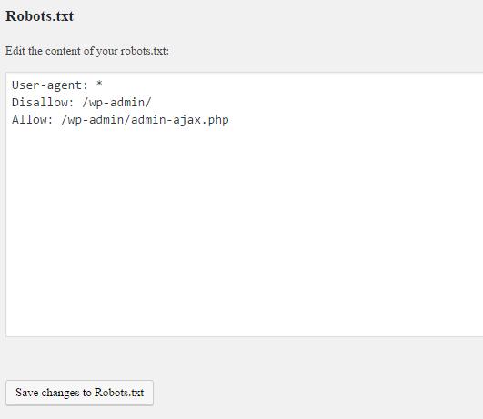 Editing Robots.txt