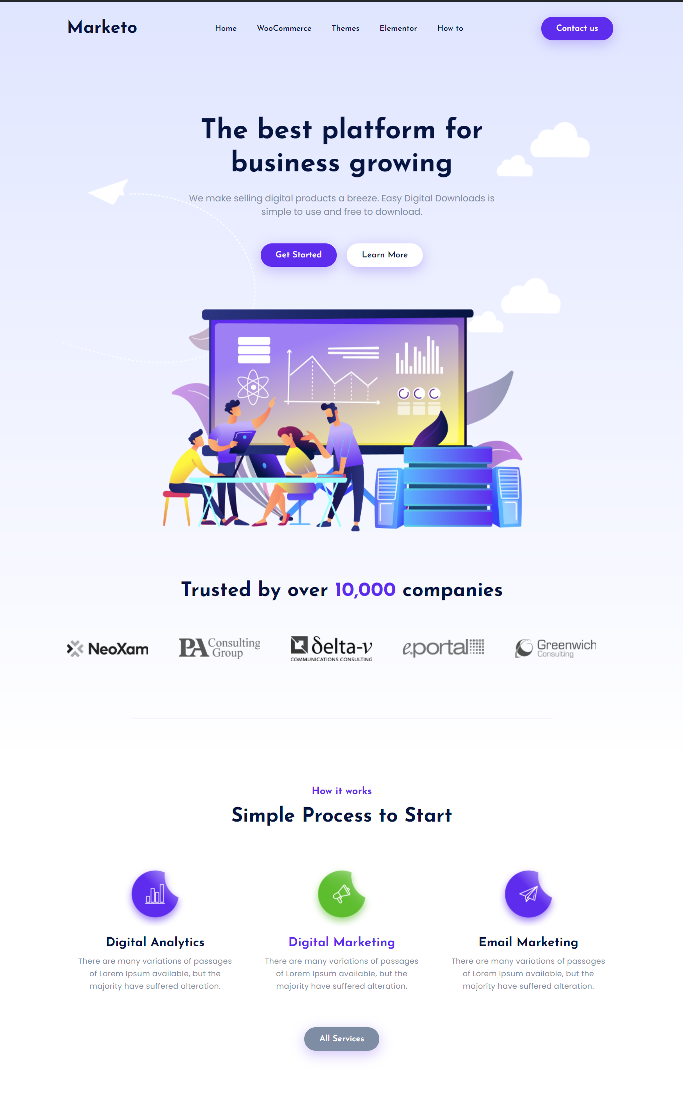 marketing elementor template featured image