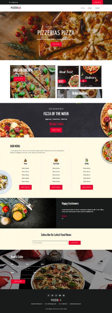 responsive restaurant elementor template