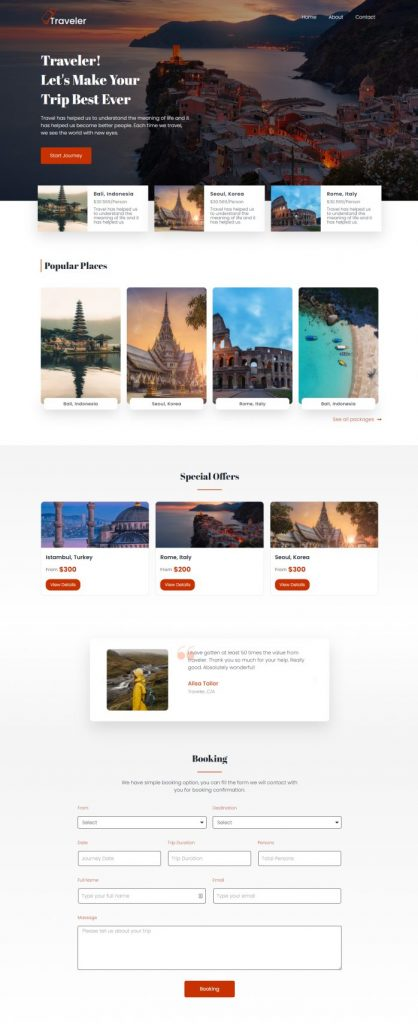 Traveler travelling elementor template featured image