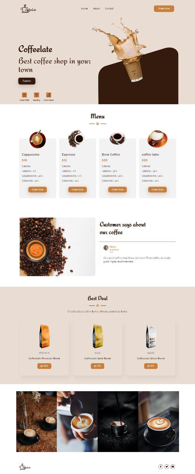 coffeelate responsive elementor coffee template