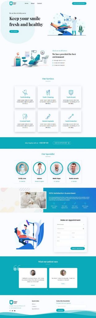 responsive dental elementor template